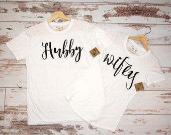 Hubby + Wifey T-shirt combo, Husband and Wife, Marriage, newleyweds gift, couples gift, mothers day gift, fathers day gift, wedding gift