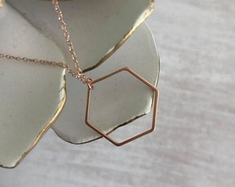 Dainty Rose Gold Hexagon Necklace // Rose Gold Necklace// Modern Hexagon Charm // Simple Geometric Necklace