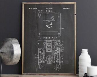 3.5 Inch, First Floppy Disk, Geek Patent, Geek Poster, Nerd Art, Diskette Drive Print, Nerd Poster, First Floppy Art, Technology Poster