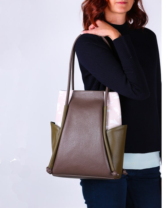 Womens Everyday Leather Bag, Minimalistic Shoulder Bag, Vegan Leather Bag, Leather and Canvas Bag, Taupe Hobo Bag, Brown,Khaki, Gift for her