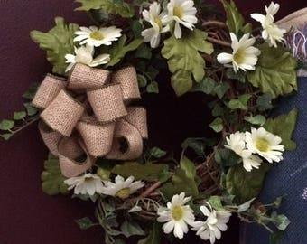 Small Front Door Wreath, Summer Wreath, Spring  Wreath, Daisy Grapevine Wreath, Daisy and Ivy Front Door Wreath, Front Door Wreath