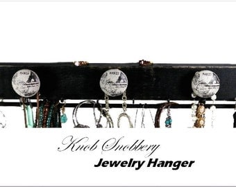 Paris 3-Knob Jewelry Hanger. Gay Parie' Themed Organizer w/3 Ceramic Knobs for Necklaces, 8 Hooks for Earrings & Dowel Bar for Bracelets