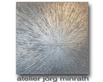 Abstrakte Malerei - Strukturgemälde - Handgemaltes Original - Gemälde auf Holzkeilrahmen - 100 x 100 x 2 cm - Modern Art - Unikat - Silber
