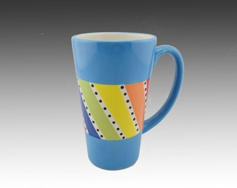 "Large Mug- Colorful  Large Blue "" Khulu""  Coffee Mug -Large Tea mug -Large Coffee Mug -Ceramic Large Mug- Large Tea Cup-16 Oz"