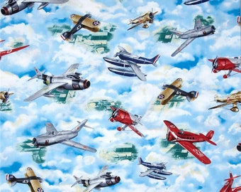 Quilting Treasures Wingman Airplane Cotton Fabric - By the Yard