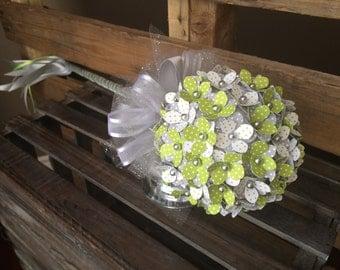 Flower Girl Wand, Lime Green & Gray Flower Girl, Alternative Wedding, Limegreen and Grey Wedding, Paper Flowers, Alternative Flower Girl