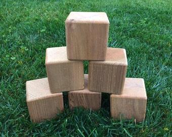 6 premium blank cedar yard dice for Yardzee and Farkle