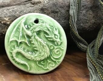 Andrew Thornton Faux Porcelain Dragon Polymer Pendant
