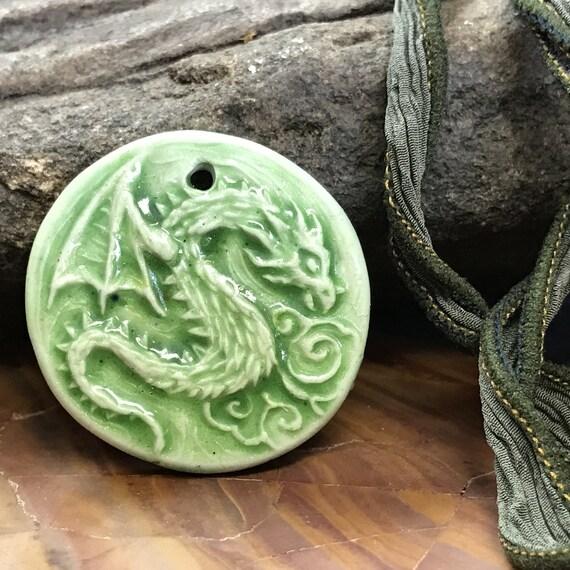 Faux Porcelain Dragon Polymer Pendant