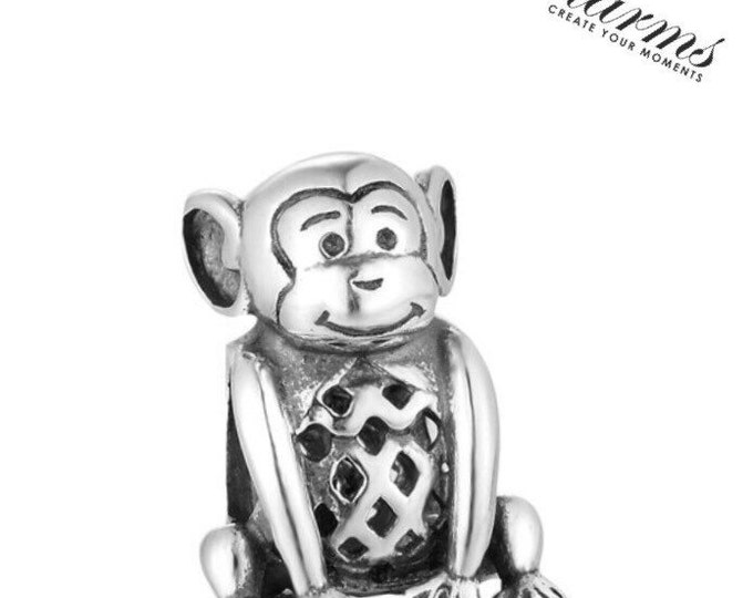 SC Naughty Monkey Charm Bead 925 Sterling Silver Gift Packing Included