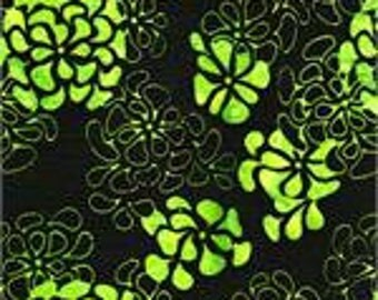 3528 BATIK MOOD RINGS & Double Dutch Quilting Fabric, Batik Textiles, Black Background with Lime Green Flowers, Batik Fabric, Quilting Fabr