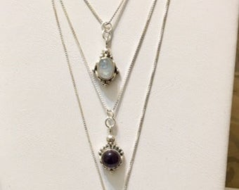 USA FREE SHIPPING-Sterling Silver Necklaces with Gemstone Pendents