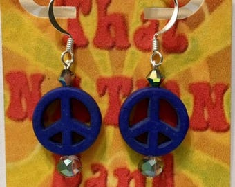 That NATION Band Sterling Silver Howlite Peace-Symbol Earrings