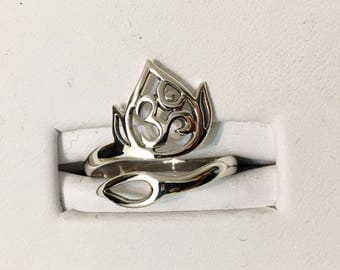 USA FREE SHIPPING!! Sterling Silver Lotus Flower Adjustable Ring