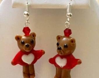 Glass Bear with Heart Earrings