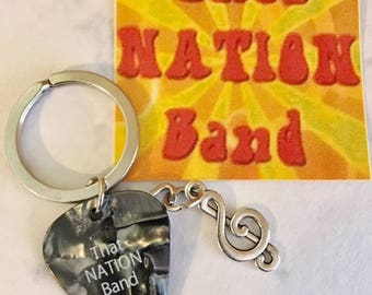 That NATION Band Treble Clef with That NATION Band Black Guitar Pick Key Ring