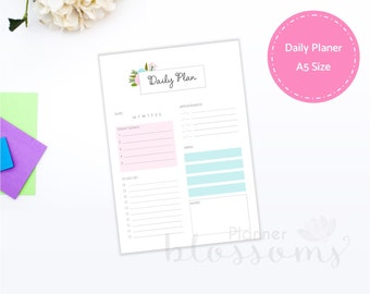 A5 size Daily planner insert, printable. Daily plan, pink floral for binder. Portrait. Instant download. PDF File.