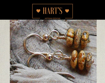 Picture Jasper 14K Gold Earrings
