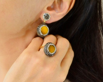 yellow round dangle clay earrings ring set, drop stud, turkish jewellery, petite gift christmass ring, ottoman hurrem earrings, sultan rings