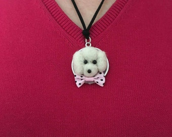 Needle felted dog/pendant dog/made of wool/unique/felt/felting needle