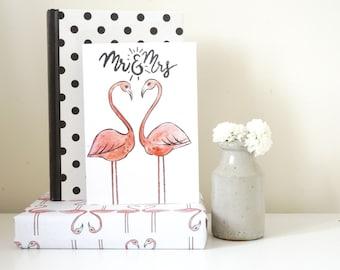 Pretty Flamingo Pink Heart/Mr and Mrs/Wedding/Congratulations/Wedding Gift Greeting Card