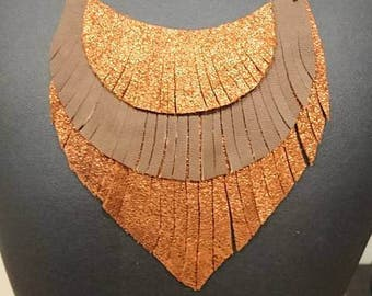 Fringed leather bib necklace
