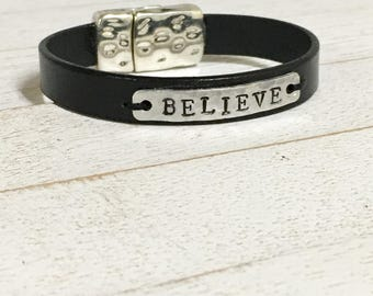 Leather Bracelet with Personalized Hammered Tag