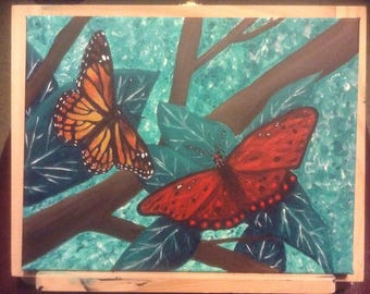 Butterflies and Branches - Original Acrylic Canvas Painting