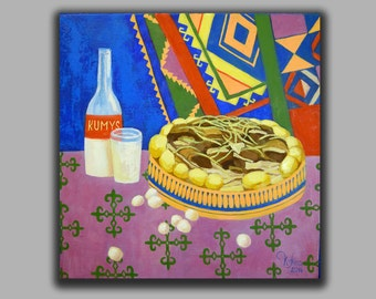 Still life painting on stretched canvas Ethnic painting Contemporary art Decorative Canvas art Kazakh art