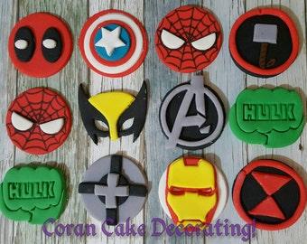 Edible Super Hero Cupcake Toppers x6, choose from, Marvel Captain America, Thor, Ironman, Hulk, Hawkeye, Spiderman or DC Superman, Flash etc