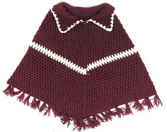 Knit Poncho Shawl with Collar Men Women / Plum Red and White Vintage Poncho Cape