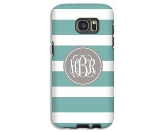 Monogram Galaxy S8 case, teal Galaxy S7 case, striped Galaxy S6 Edge case, Galaxy S5 case, girls Galaxy case, 3D Galaxy cases