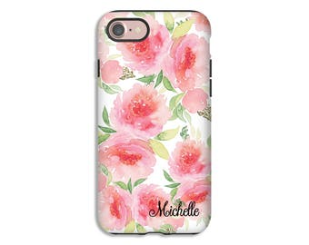 Personalized iPhone 7 case, watercolor roses iPhone 7 Plus case, iphone 6s/6s Plus/6/6 Plus/5s/5/SE cases, rose iPhone case