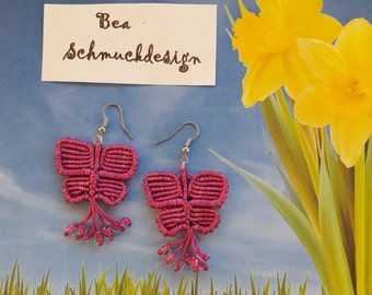 Earrings Butterfly purple macrame