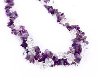 Amethyst & Opalite Beaded Healing Necklace