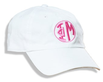 PHU  Phi Mu Sorority Embroidered Monogram Circle Font Baseball Hat/Cap.