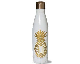 AOII. Alpha Omicron Pi Sorority Stainless Steel Water Bottle With Gold Pineapple Greek Letter design