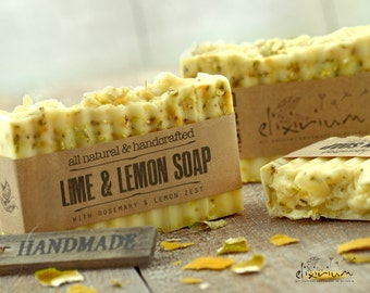 Lime & Lemon ORGANIC SOAP with Rosemary~Natural Soap~Organic Soap~Vegan Soap~Handmade Soap~Rustic soap~All natural soap bar~Body soap~soap