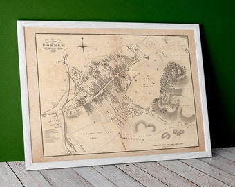 Forres Antique Town Plan | Giclée Fine Art Print | Vintage town plan, antique, old map of Foress, Morayshire near Elgin, Inverness in 1883