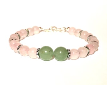 Twin flame Rose Quartz and aventurine bracelet