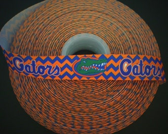"4 YDS - University of Florida Chevron Gators 7/8"" Grosgrain Ribbon"