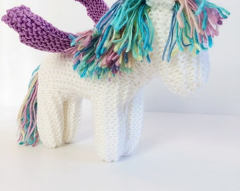Hand Knit Pegasus - Waldorf Toys - Mythical Animals - Stuffed Animal - Knitted Animal - Birthday Gift - Magical Toy - Toddler Pretend Play