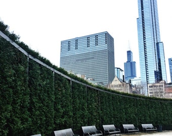 Millennium Park, Chicago, Benches, Skyline, Cityscape, Sears Tower, Skyscrapers, Chicago Photography, Chicago Wall Art, Chicago Prints