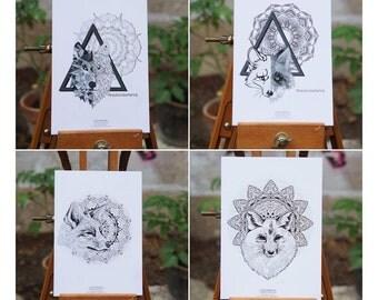 Lot 4 postcards Foxes & Wolf Mandala