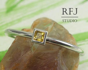 Square Real Citrine Sterling Silver Ring, Princess Cut 2x2 mm Natural Yellow Citrine Ring Square Setting Engagement Ring November Jewelry