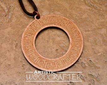 Wooden Geometric Circle Pendant (Bronze color)