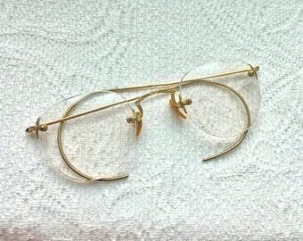 Antique Eyeglasses John Lennon Eyeglasses Steampunk Eyeglasses Harry Potter Eyeglasses 10k Gold Filled 1930 Eyeglasses Old Eyeglasses