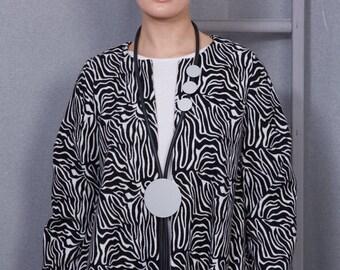 Black and White Zebra Duster Coat - Occasion Wear, Ladies Coat, Coat for All Seasons