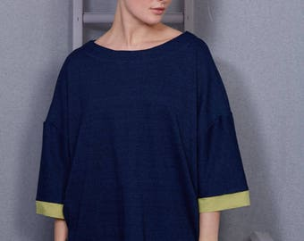 Denim Slouch T-Shirt, Lime Sleeve, Limited Edition, Pockets