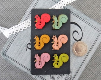 10 x Cute Muted Coloured Squirrel Wooden Button